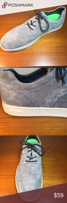 Diesel Shoes - Men's Suede Leather Gray Size 12 High Quality men's suede leather fashion sneakers  Retails for $200 Genuine leather Excellent Used condition, normal signs of wear Size 12 Men's Diesel Shoes Oxfords & Derbys