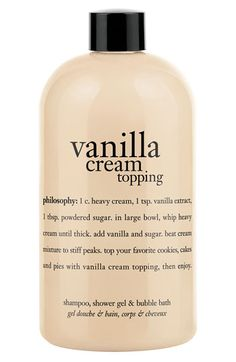 philosophy 'whipped vanilla topping' shampoo, shower gel & bubble bath available at #Nordstrom