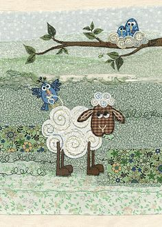 Nest Wool greetings card by Bug Art Applique Patterns, Applique Quilts, Applique Designs, Embroidery Applique, Quilt Patterns, Machine Embroidery, Mini Quilts, Baby Quilts, Art Carte