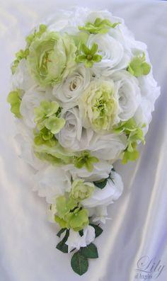 17pcs Wedding Bridal Bouquet Flower White/Green Cascade