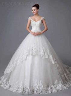 Gorgeous Ball Gown Sweetheart Straps Appliques Beading Chapel Wedding Dress Wedding Dresses 2014- ericdress.com 10958130