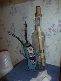 Spongebob Birthday Decor- plankton and the secret formula...great idea, I have mini bottles just like this one
