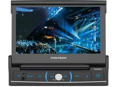 """DVD Automotivo Pósitron SP6320 Retrátil Tela 7"""" - Touch Screen Entradas USB Aux e p/ Câmera de Ré"""