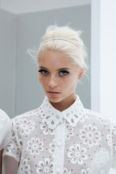 All white crochet shirt top. Bold eye makeup. Platinum blonde. #outfit #style #model http://officialrassspy.tumblr.com/