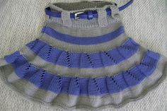 Kızlarımız için çok hoş ve kullanışlı bir model. Malzemeler: Mavi alize baby best ip Gri alize baby best ip 4 numara şiş Yapılışı: Eteğimize bel kısmından gri ipimi