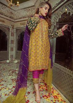 Details Chiffon suit Front chiffon embroidery with handwork Back chiffon plan Seleves chiffon with handwork Dupatta net 4 side lace dubal colour Neck motif with handwork Front Daman Back Daman Seleves motif Trouzer motif Trouzer malai. Latest Pakistani Dresses, Pakistani Fashion Party Wear, Pakistani Wedding Outfits, Pakistani Dress Design, Bridal Outfits, Pakistani Mehndi Dress, Mehndi Fashion, Latest Pakistani Fashion, Pakistani Clothing