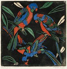 Margaret Preston (Australian, 1875-1963), Lorikeets, 1925. Hand-coloured woodcut, 25 x 24.5 cm.