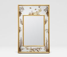 """""""Eloise"""" chinoiserie-style reverse painted mirror border with gold frame, from Made Goods."""