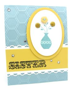 A card using the Honeycomb embossing and the Button Buddies from Stampin' Up!
