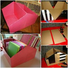 repurpose cardboard boxes to help get more organized with your books, filing, or other areas of clutter. Fun DIY for craft supplies, too.