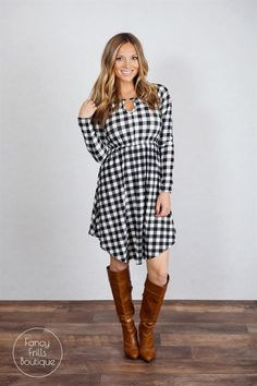 Everyone needs plaid in their closet this fall, and this dress will make the perfect addition to your closet! The longer length looks amazing with your fave skinny jeans or leggings, and the gathered waist is perfect to add style!  The fabric is super soft and comfy, and is not at all see through! The neutral colors make it the perfect go-to for any occasion! Adorable layered with your favorite cardigan or jacket, and also adorable on it's own! Runs true to size and is a flattering fit!...