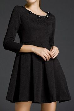 Black Long Sleeve Rhinestone Applique Dress
