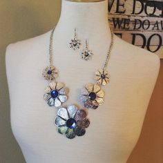 Necklace and Earring Set {Floral.Silver} Blue or White stones