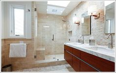 Shower with bench and good light