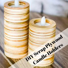 Click below for an easy and adorable DIY project with scrap wood! What's your favorite candle scent? Scrap Wood Projects, Easy Projects, Woodworking Projects, Scented Candles, Candle Jars, Woodworking Enthusiasts, A Table, Workshop, Living Room