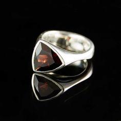 Tetra Blood Red Trillion Garnet Sterling Silver Ring by nodeform, $240.00