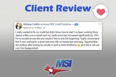 Congratulations on your results so far Adriana, and thank you for your positive feedback!    No credit problem is small, and there are options to help you increase your credit scores. Have you reviewed your credit report?      For more information about our credit repair services, real estate services and loan resources, please contact us today.  ☎️ (866) 217-9841 or visitwww.msicredit.com.