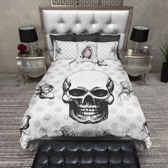 Black Skull & Polka Dot Duvet Bedding Sets
