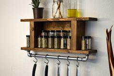 Rustic Modern Industrial Kitchen Shelf Pot Rack Wall Spice Rack with Cast Iron Towel Bar Light Walnut de RusticModernDecor en Etsy https://www.etsy.com/es/listing/202856699/rustic-modern-industrial-kitchen-shelf