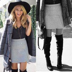 The always beautiful @annaheinrich1 wearing the Cara Felt Fedora, Double Back Skirt and Carolina Boots