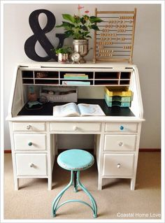 Vintage Roll Top Desk Gets a Coastal Home Love Makeover!