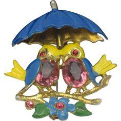 FRED GRAY Vintage 1940's Rhinestone Enamel Figural Birds Brooch Pin