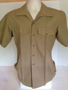 Genuine GI Issue Mens USMC Marine Corps Dress Khaki Short Sleeve Shirt Sz Medium