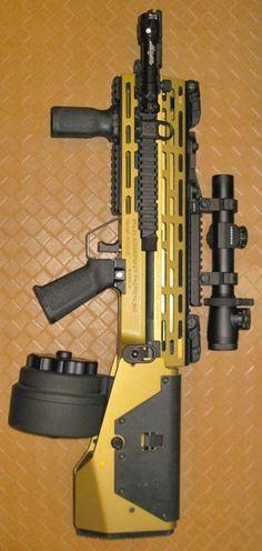 Rogue M14 Juggernaut rifle with drum magazine