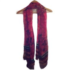 """SCARF Open Weave Knit Red Pink Purple Orange Teal Cashmere-silk feel, no tags. Frayed ends. Measures 19"""" x 70"""" (approximately). Very light weight. BUNDLE with any other item to receive additional discount on entire purchase! Accessories Scarves & Wraps"""