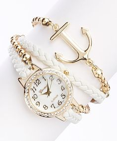 White Anchor Bracelet Watch zulily I had no idea that there were so many pretty things in this world Cute Jewelry, Jewelry Accessories, Fashion Accessories, Fashion Jewelry, Nautical Jewelry, Jewlery, Women's Fashion, Accesorios Casual, Stylish Watches