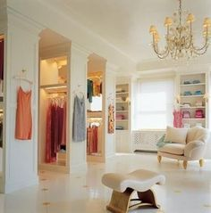 Dream closet...if I ever have a really awkwardly arranged room that I must figure out what to do with(: