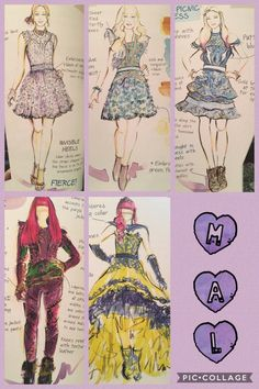 Mal's Descendants 2 evolution (outfits designed by Evie) 💜 Descendants Wicked World, Disney Channel Descendants, Descendants Cake, Disney Style, Disney Art, Disney And Dreamworks, Disney Pixar, Mal And Evie, Disney Memes