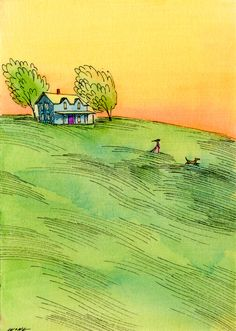 art journal inspiration - Windy Walk by Nicole Wong. Check out this artist. Such lovely work ...
