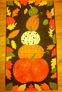 Stacked Pumpkins Wall Hanging by FatSheepStudios on Etsy, $55.00