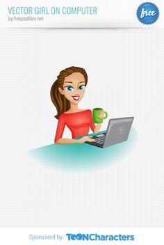 Free Vector Girl on Computer (1.78 MB) | vectorcharacters.net