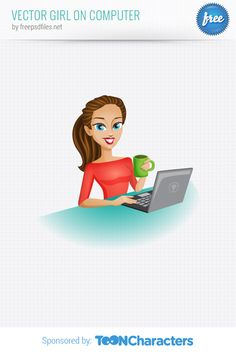 Free Vector Girl on Computer (1.78 MB) | vectorcharacters.net