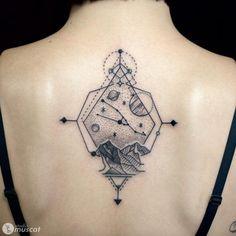 Geometric landscape tattoo by Shinya