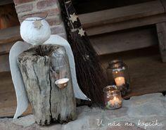 Špalek už dosloužil. Tom na něm pět let poctivě každou zimu štípal dřevo do krbu a díky jeho zásekům a vlivu počasí získal špalek n... Old Wood, Origami, Candle Holders, Vase, Candles, Creative, Christmas, Advent, Home Decor