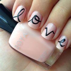 Simple love graffiti nail art