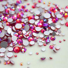 464117947dc6 Swarovski crystals LIGHT SIAM AB flat back gems stones rhinestones non  hotfix for nail art and design