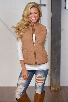 10% off & FREE shipping with code REPJENNIFER!  More To Explore Quilted Puffer Vest - Camel