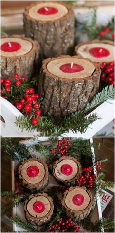DIY Rustic Wooden Christmas Candle Holders