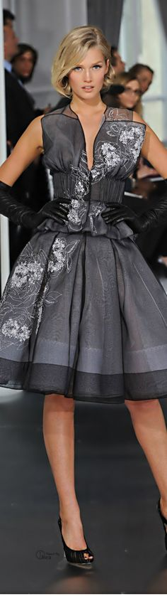 Christian Dior ● Couture Cocktail Dress Grey Fashion, High Fashion, Love Fashion, Couture Fashion, Runway Fashion, Womens Fashion, Elegant Cocktail Dress, Cocktail Dresses, Dior Girl
