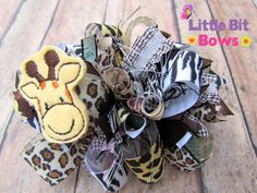 Jungle Friends Giraffe Feltie Boutique Funky Bow by LittleBitBows, $11.99