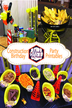 Get the FREE printables from this Construction Birthday Party at Mandy's Party Printables!