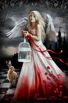 Angel with rabbit