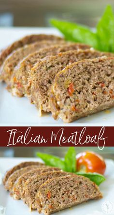 Italian Meatloaf made with lean ground beef, basil, garlic, tomatoes, Pecorino Romano grated cheese and Italian breadcrumbs. #meatloaf #groundbeef #beef