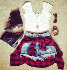 Crop top, high waisted shorts, combats and a flannel wrapped around the waist. Another hipster style and is good for spring or summer.
