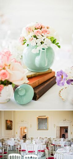 Teapot centerpieces - perfect for the bookish bride