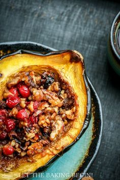 Acorn Squash with Brown Sugar, Walnuts & Cranberries from Let the Baking Begin